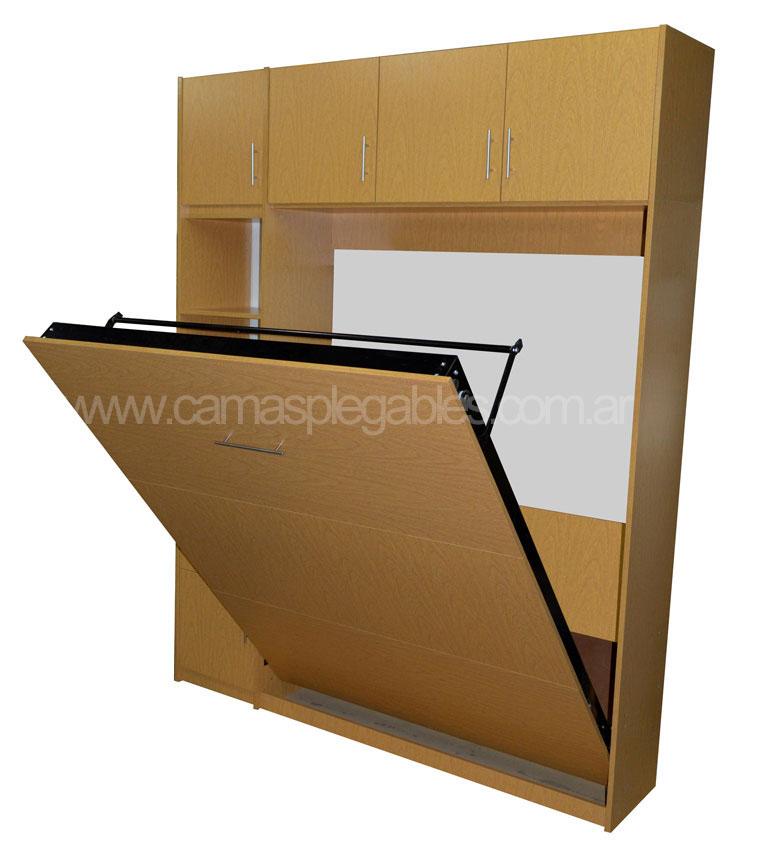 Mueble placard con cama plegable rebatible incorporada en melamina