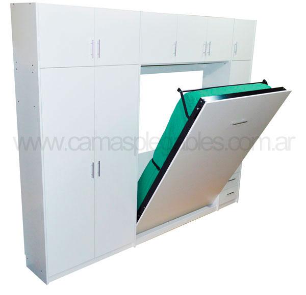 Mueble camas rebatible para 2 plaza con placard vestidor y cajoneras 2