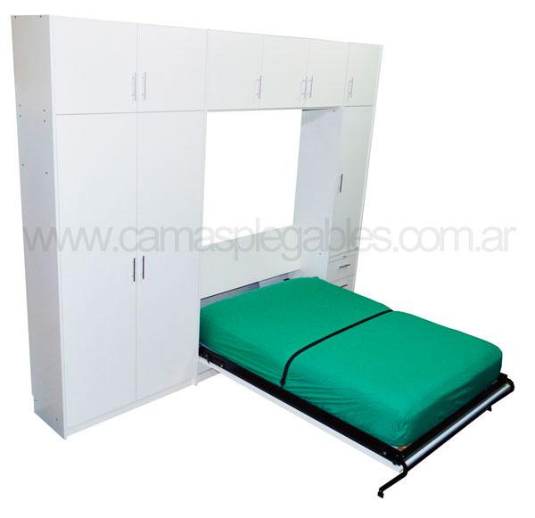 Mueble camas rebatible para 2 plaza con placard vestidor y cajoneras 3