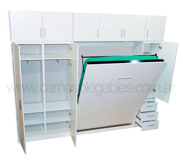 Mueble camas rebatible para 2 plaza con placard vestidor y cajoneras 5