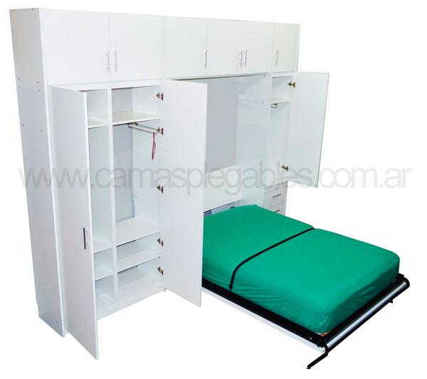 Mueble camas rebatible para 2 plaza con placard vestidor y cajoneras 9