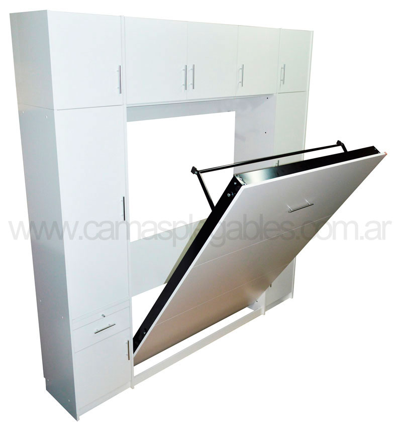 Mueble placard con cama rebatible plegable para colchon 2 plazas 002