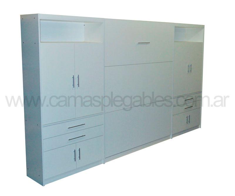 Mueble camas rebatible para colchon 2 plaza con placard vestidor y