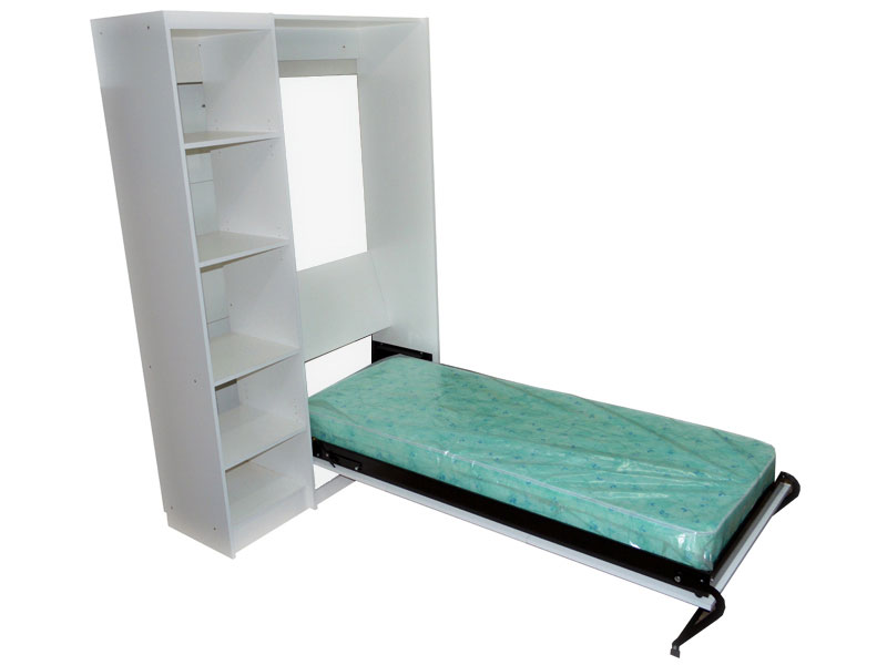 Mueble cama plegable rebatible en melamina blanca para colchón 1