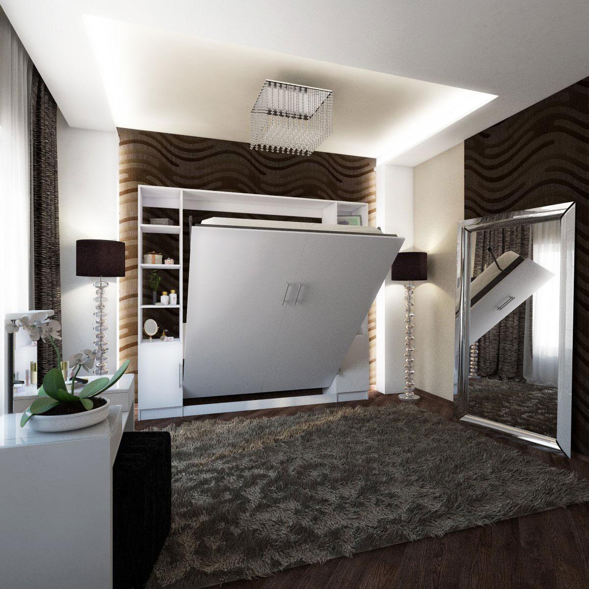 Mueble camas rebatible de dos plazas con estanterías y puertas