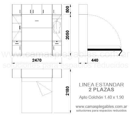 Medidas muebles con camas rebatibles for Medidas de colchon matrimonial