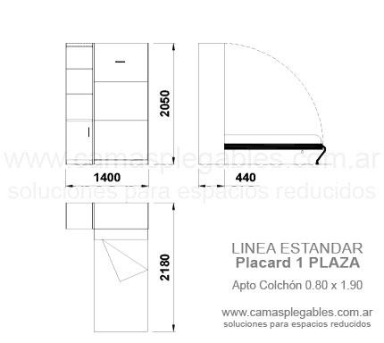 Medidas muebles con camas rebatibles for Medidas de cama de una plaza