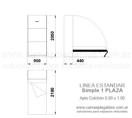 Medidas muebles con camas rebatibles for Medida estandar de colchon de una plaza