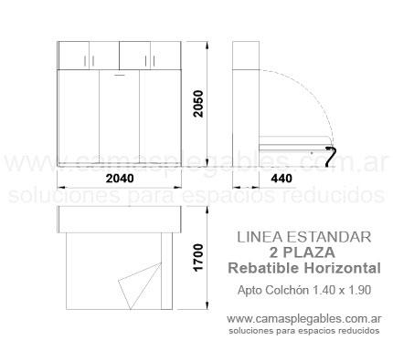 Medidas muebles con camas rebatibles for Cama 3 plazas medidas